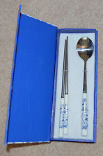 Chopsticks and Spoon - Asian - Blue and White Flower Pattern Tableware Gift Set