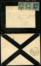 SPAIN 1909 MOURNING ENVELOPE to FRANCE