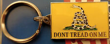 DON'T TREAD ON ME Gadsden Flag Key Ring Zinc/Pewter Rattle Snake