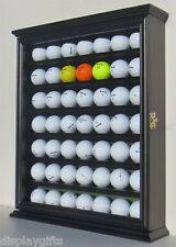 49 Golf Ball Display Case Rack Cabinet with Glass Door, Solid Wood, GB49-BLA