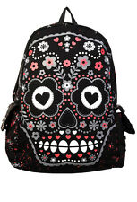 Sugar Skull Backpack Banned rucksack school A4 bag rock punk emo goth Black Pink