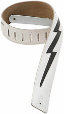 "Levy's DM2-WHT 2.5"" Leather Guitar/Bass Strap w/ Black Lightning Bolt - White"