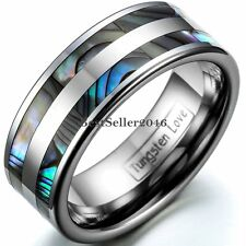 Tungsten Carbide Ring Men's Women's Couple Engagement Wedding Band Abalone Shell