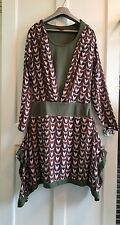 Skunk Funk Funky Lagenlook  Red Green Retro Geometric Layered Dress Size 4 14