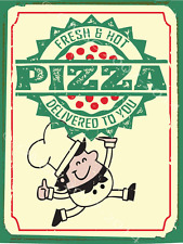 Fresh Hot Pizza Delivery Metal Sign, Traditional Italian Restaurant, Pub Decor