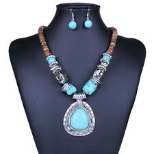 Women Turquoise Irregular Silver Tone Pendant Necklace Round Bead Earring Set