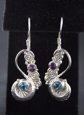 Sajen Amethyst Blue Topaz Twist Wire Drop/Dangle Earrings Sterling Silver .925