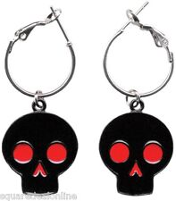 60041 Black with Red Eyes Nose Skull Silver Hoop Enamel Earrings Sourpuss Punk