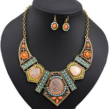Women's Boho Hollow Statement Chain Choker Necklace Earrings Set Sassy