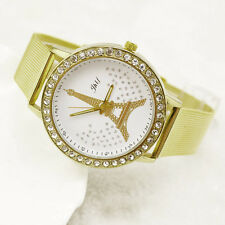 New Women Watch Ladies Crystal Tower Gold Stainless Steel Mesh Band Wrist Watch