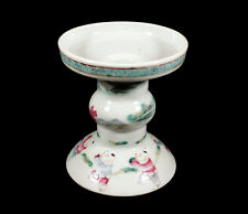ANTIQUE CHINESE PORCELAIN DECORATED FAMILLE ROSE CANDLESTICK CANDLE HOLDER