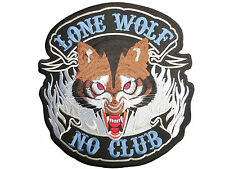 "Lone Wolf No Club Chopper Hog Outlaw Biker Big Embroidered Back Patch 9.7""/24cm"