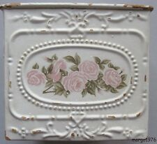 Chic Victorian Shabby Cottage Pink Roses Tin Metal Square Container Storage