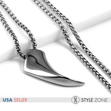 Men's Stainless Steel Cool Wolf Tooth Venturer Pendant w Box Chain Necklace P49