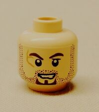 x1 NEW Lego Minifig Head FLESH Brown Stubble and Goatee Scar on Right Eye