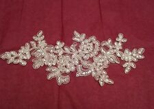 Ivory bridal wedding beaded lace Applique/ floral lace motif.Sold By piece