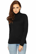 WOMENS CASUAL HIGH POLO NECK LONG SLEEVE KNITTED LADIES JUMPER WARM RIBBED TOP