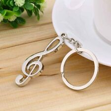 Stainless Steel Metal Treble Clef Musical Symbol Key Ring Key Chain Gift BY