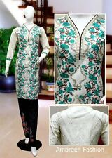 Indian/Pakistani Embroidered Cotton Blend Kurti/Kurta + (Cigerate Trousers)