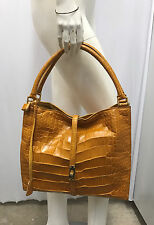 ALLIGATOR PURSE HOBO MUSTARD YELLOW GOLD METAL HARDWARE LOCK WITH 2 KEYS