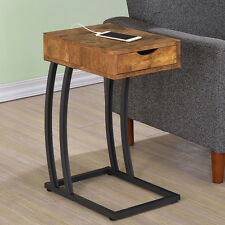 Accent Snack Side Chairside Table Stand Drawer Outlet Charge Wood Antique Nutmeg