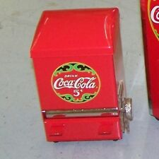 COCA COLA RED METAL TOOTHPICK DISPENSER W/ VINTAGE LOGO