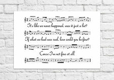 5 Seconds of Summer (5SOS) - Amnesia - Song Sheet Art Poster - A4 Size