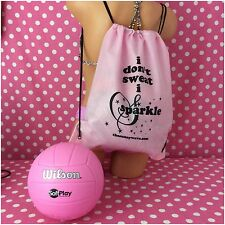 WILSON SOFT PLAY PINK VOLLEYBALL INDOOR OUTDOOR SPORT BALL & BACKPACK BAG