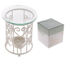 NEW WHITE METAL HEART EDEN OIL BURNER WITH ROUND GLASS DISH 10cm OB253 PUCK