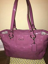 COACH PINK PURPLE GALLERY EMBOSSED PATENT SIGNATURE LEATHER TOTE BAG PURSE