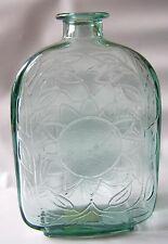 Green Glass Flat Empty Bottle With Sunflowers Pressed Both Sides Made In Canada
