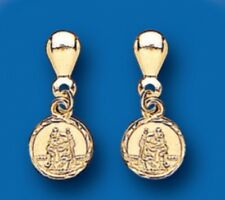 9K Yellow Gold Saint Christopher Drop Earrings - British Made - Hallmarked