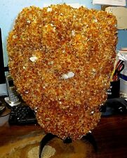 HUGE  CITRINE CRYSTAL CLUSTER GEODE  FROM BRAZIL CATHEDRAL W/ BLACK STEEL STAND