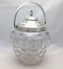 Antique Solid Silver & Cut Glass Biscuit Barrel or Cookie Jar with Swing Handle