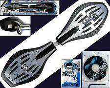 NIB Street Surfing The Wave Hi Tide 2 Wheel Silver Black Caster Skateboard w/DVD