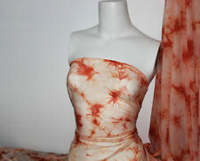 Orange Tie Dye 4 way stretch sheer Fabric