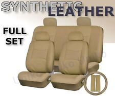 SOLID TAN PU Low Back Synthetic Leather Seat Covers Steering Wheel Set Beige CS