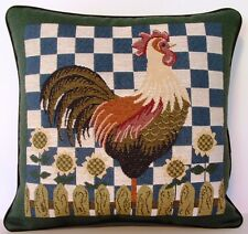 Chicken- Rooster w/ Flowers On Picket Fence Tapestry Pillow New