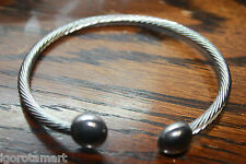 Gift Ladies Twisted C Ring Double Ball Ends Men Rock Gothic Open Wrist Bracelet