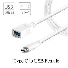 USB-C 3.1 TYPE C MALE TO USB 3.0 FEMALE ADAPTER OTG DATA SYNC CHARGE CABLE WHITE