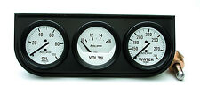 Auto Meter Autogage Oil /Volt /Water Trio WHITE Gauge with BLACK Console 2-1/16""