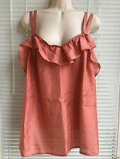 Old Navy Coral Pure Silk Ruffle Double Straps  Top Blouse, Size  Women's Plus 2x