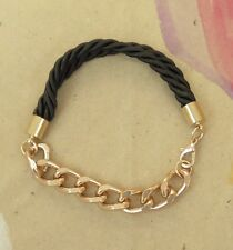 Silk Rope Chain Link Bracelet - BLACK