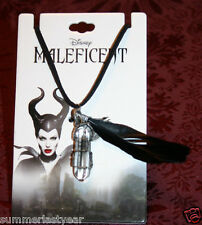 "2014 ""MALEFICENT"" CRYSTAL, FEATHER AND CHARM LEATHER NECKLACE DISNEY MALEFICENT"