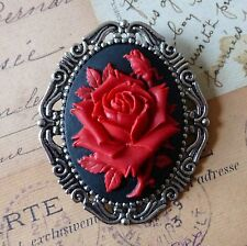HUGE KiTsCh GOTH EmO ViCtOrIaN ViNtAgE SILVER BLACK RED ROSE CAMEO BROOCH PIN