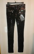 NWT SOLD OUT DESIGNER JULIEN CHAMBON BLACK SEQUIN PANTS LEGGINGS SMALL