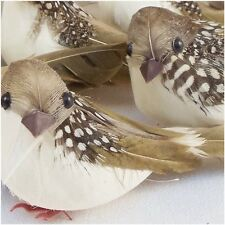 Artificial Birds Brown White Feather Birds Nature Spring Craft Supply 2Pc 4.75""