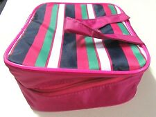 BLOOMINGDALES Cosmetic Bag Travel Striped PINK Clear Removable Inside Organizers