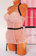 NWT VICTORIA'S SECRET Lingerie Lace Corset VS Garter Bustier Lined 36D Pink