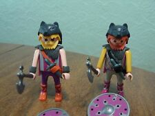 Vintage Playmobil Viking Wolf Warriors W/Shields Weapons